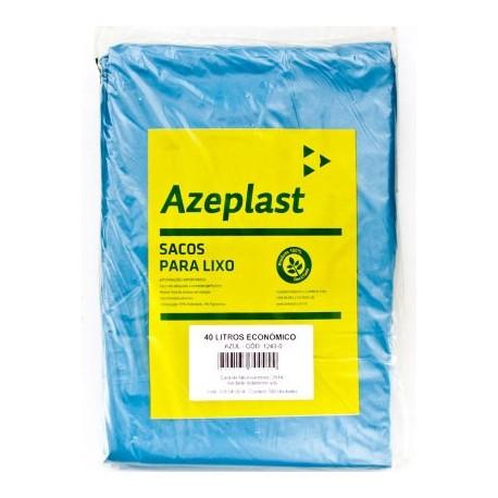 Saco de Lixo 40 Litros Economico Azeplast Pacote com 100 Unidades - Azul