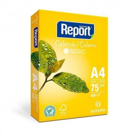 Papel Report A4 color amarelo pt/500fls