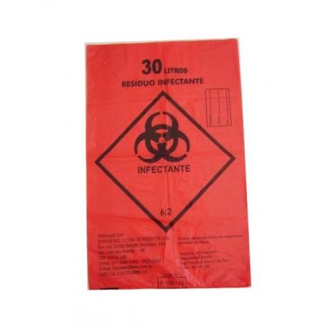 Saco de Lixo 30 Litros Zibag Reforçado Infectante Vermelho